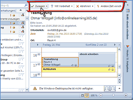 E-Mail mit Besprechungsanfrage in Outlook 2010