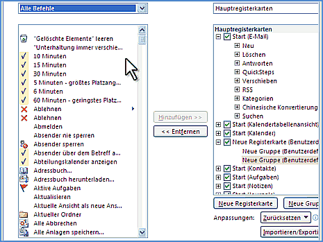 Menüband von Outlook 2010 anpassen