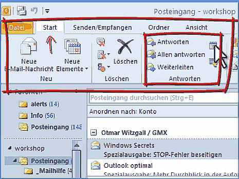 Otulook 2010 Menüband und Benutzeroberfläche