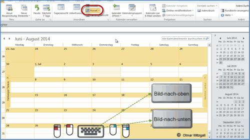 Navigieren im Outlook Kalender mit Tastatur