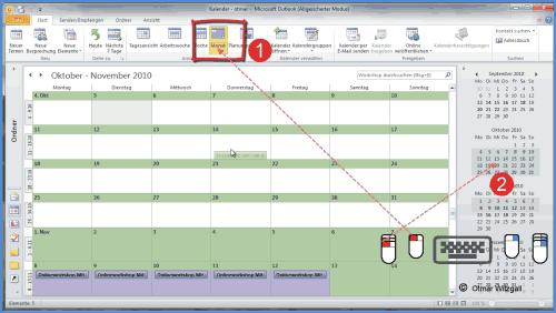 Im Outlook-Kalender sechs Wochen in der Monatsansicht anzeigen