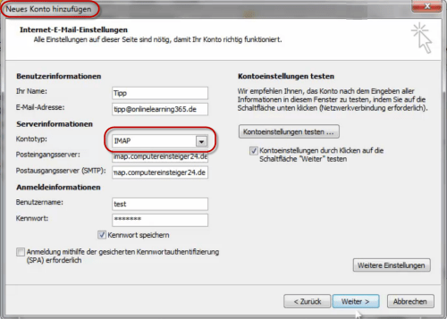 Imap-Konto in Outlook 2010 einrichten