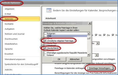 Outlook-2012 Kalender: Feiertage einrichten