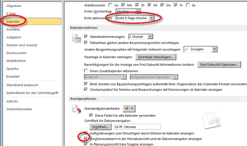 Wochennummern in Outlook 2010