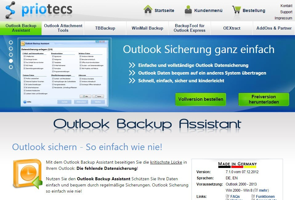 Outlook-Backup-Assistant von Priotecs