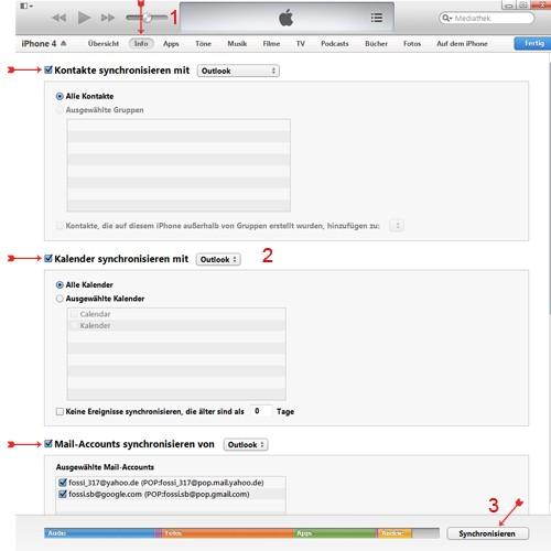 Handy Synchronisieren mit Outlook und iTunes