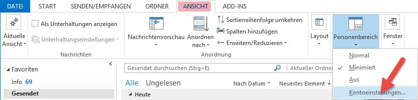 Screenshot Personenbereich Outlook 2013